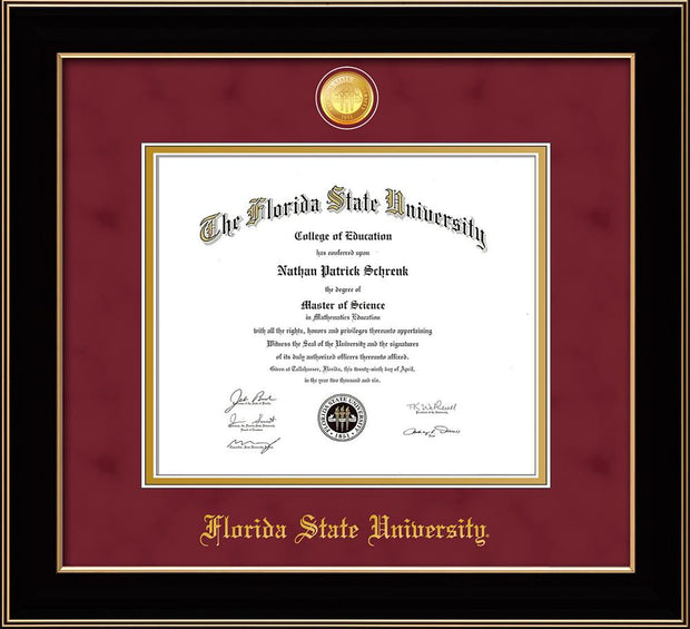 Image of Florida State University Diploma Frame - Black Lacquer - w/24k Gold-Plated Medallion FSU Name Embossing - Garnet Suede on Gold mats