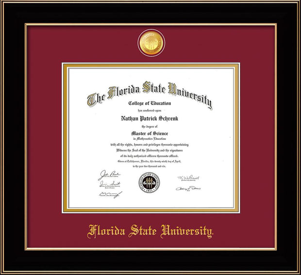 Image of Florida State University Diploma Frame - Black Lacquer - w/24k Gold-Plated Medallion FSU Name Embossing - Garnet on Gold mats
