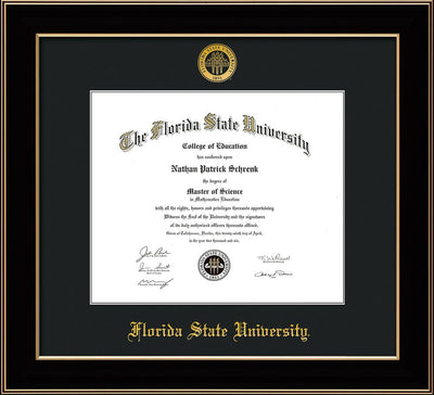 Image of Florida State University Diploma Frame - Black Lacquer - w/Embossed FSU Seal & Name - Single Black mat