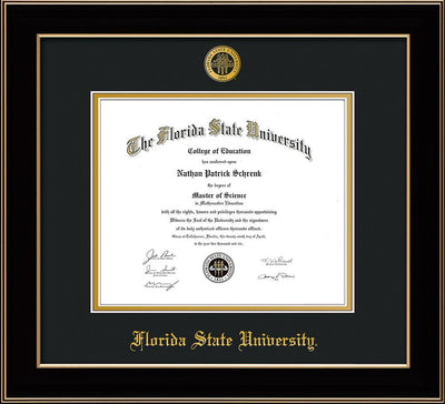Image of Florida State University Diploma Frame - Black Lacquer - w/Embossed FSU Seal & Name - Black on Gold mats