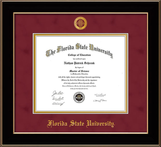 Image of Florida State University Diploma Frame - Black Lacquer - w/Embossed FSU Seal & Name - Garnet Suede on Gold mats