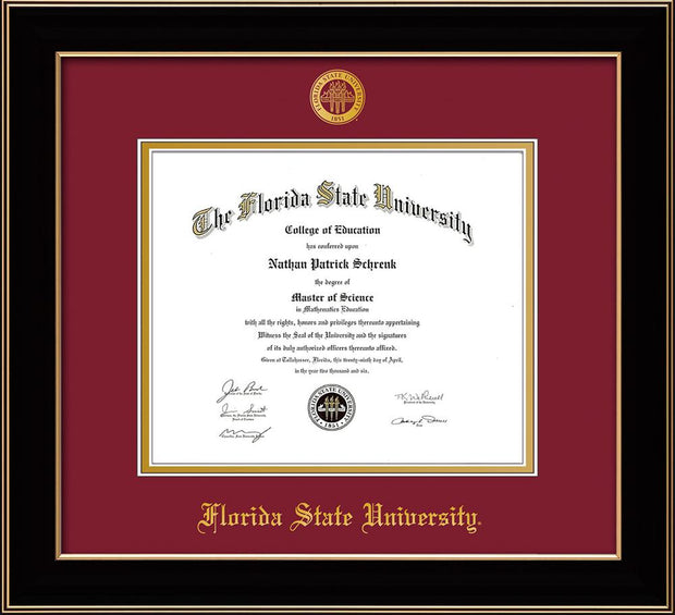 Image of Florida State University Diploma Frame - Black Lacquer - w/Embossed FSU Seal & Name - Garnet on Gold mats