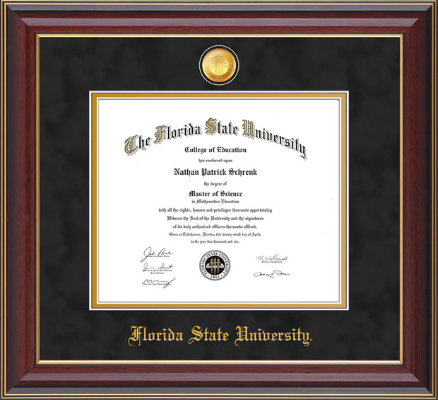 Image of Florida State University Diploma Frame - Cherry Lacquer - w/24k Gold-Plated Medallion FSU Name Embossing - Black Suede on Gold mats