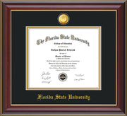 Image of Florida State University Diploma Frame - Cherry Lacquer - w/24k Gold-Plated Medallion FSU Name Embossing - Black on Gold mats