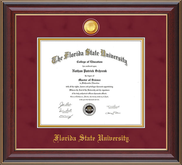 Image of Florida State University Diploma Frame - Cherry Lacquer - w/24k Gold-Plated Medallion FSU Name Embossing - Garnet Suede on Gold mats
