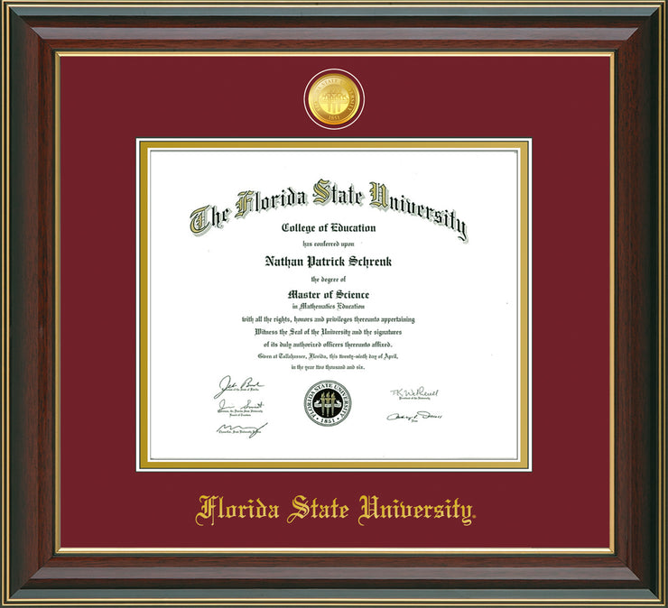 Image of Florida State University Diploma Frame - Cherry Lacquer - w/24k Gold-Plated Medallion FSU Name Embossing - Garnet on Gold mats