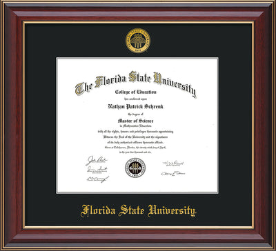 Image of Florida State University Diploma Frame - Cherry Lacquer - w/Embossed FSU Seal & Name - Single Black mat