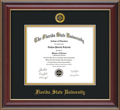 Image of Florida State University Diploma Frame - Cherry Lacquer - w/Embossed FSU Seal & Name - Black on Gold mats