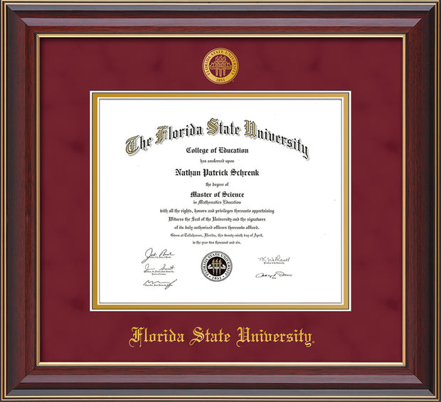 Image of Florida State University Diploma Frame - Cherry Lacquer - w/Embossed FSU Seal & Name - Garnet Suede on Gold mats