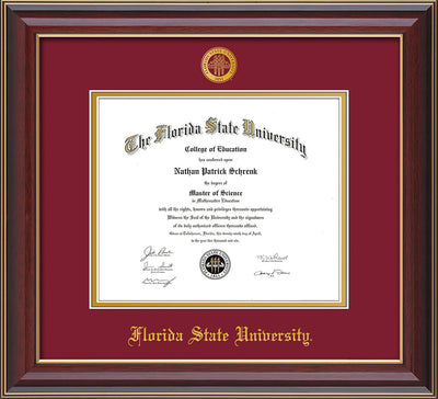 Image of Florida State University Diploma Frame - Cherry Lacquer - w/Embossed FSU Seal & Name - Garnet on Gold mats