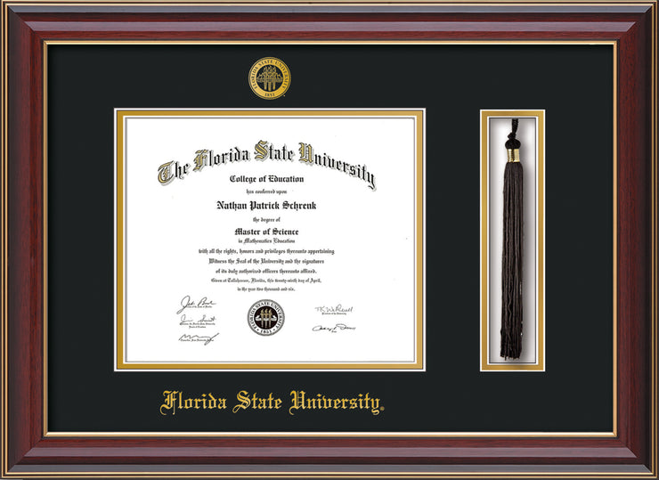 Image of Florida State University Diploma Frame - Cherry Lacquer - w/Embossed FSU Seal & Name - Tassel Holder - Black on Gold mats
