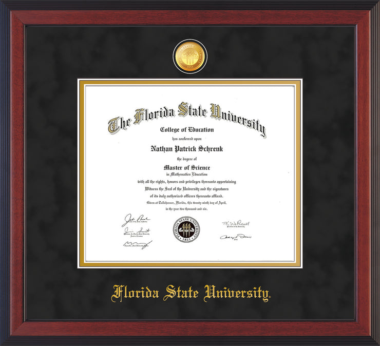 Image of Florida State University Diploma Frame - Cherry Reverse - w/24k Gold-Plated Medallion FSU Name Embossing - Black Suede on Gold mats