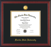 Image of Florida State University Diploma Frame - Cherry Reverse - w/24k Gold-Plated Medallion FSU Name Embossing - Black on Gold mats