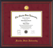 Image of Florida State University Diploma Frame - Cherry Reverse - w/24k Gold-Plated Medallion FSU Name Embossing - Garnet Suede on Gold mats