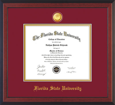 Image of Florida State University Diploma Frame - Cherry Reverse - w/24k Gold-Plated Medallion FSU Name Embossing - Garnet on Gold mats