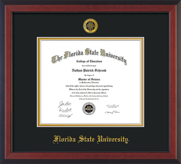 Image of Florida State University Diploma Frame - Cherry Reverse - w/Embossed FSU Seal & Name - Black on Gold mats