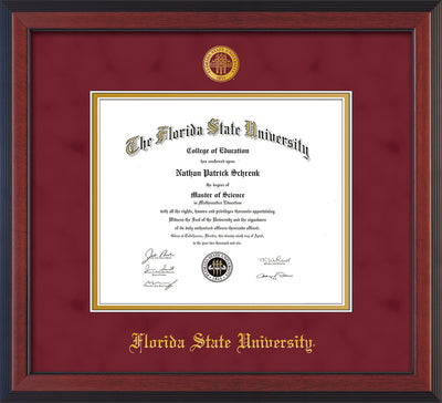 Image of Florida State University Diploma Frame - Cherry Reverse - w/Embossed FSU Seal & Name - Garnet Suede on Gold mats