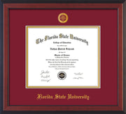 Image of Florida State University Diploma Frame - Cherry Reverse - w/Embossed FSU Seal & Name - Garnet on Gold mats