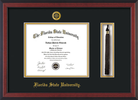 Image of Florida State University Diploma Frame - Cherry Reverse - w/Embossed FSU Seal & Name - Tassel Holder - Black on Gold mats