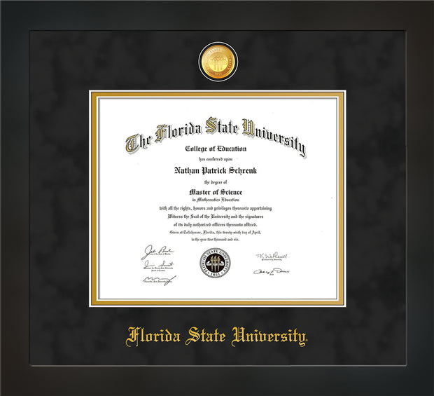 Image of Florida State University Diploma Frame - Flat Matte Black - w/24k Gold-Plated Medallion FSU Name Embossing - Black Suede on Gold mats