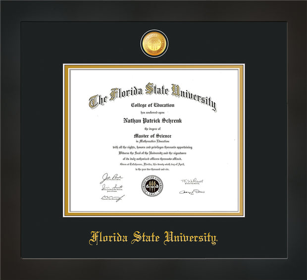 Image of Florida State University Diploma Frame - Flat Matte Black - w/24k Gold-Plated Medallion FSU Name Embossing - Black on Gold mats