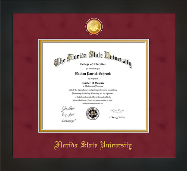 Image of Florida State University Diploma Frame - Flat Matte Black - w/24k Gold-Plated Medallion FSU Name Embossing - Garnet Suede on Gold mats