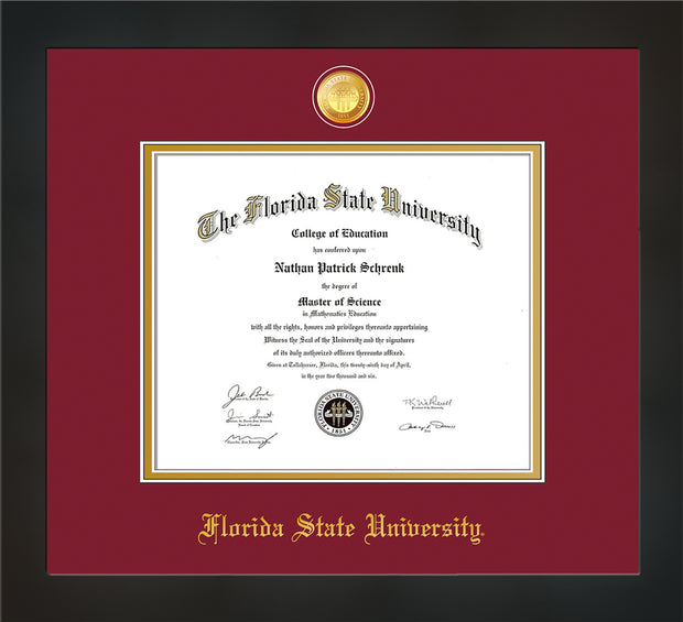 Image of Florida State University Diploma Frame - Flat Matte Black - w/24k Gold-Plated Medallion FSU Name Embossing - Garnet on Gold mats