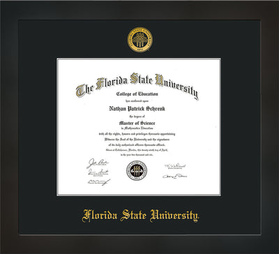 Image of Florida State University Diploma Frame - Flat Matte Black - w/Embossed FSU Seal & Name - Single Black mat