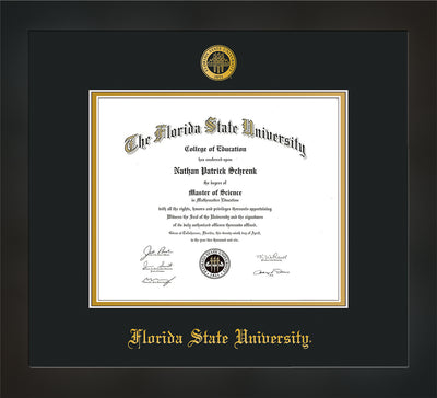 Image of Florida State University Diploma Frame - Flat Matte Black - w/Embossed FSU Seal & Name - Black on Gold mats