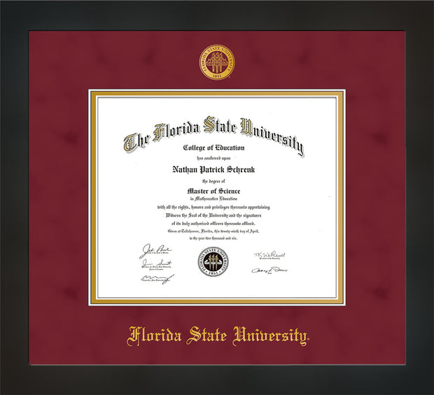 Image of Florida State University Diploma Frame - Flat Matte Black - w/Embossed FSU Seal & Name - Garnet Suede on Gold mats
