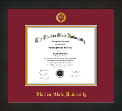 Image of Florida State University Diploma Frame - Flat Matte Black - w/Embossed FSU Seal & Name - Garnet on Gold mats