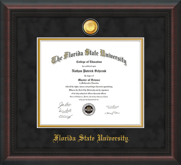 Image of Florida State University Diploma Frame - Mahogany Braid - w/24k Gold-Plated Medallion FSU Name Embossing - Black Suede on Gold mats