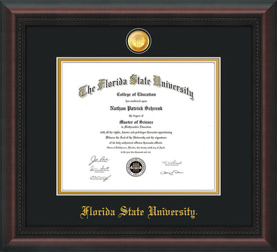 Image of Florida State University Diploma Frame - Mahogany Braid - w/24k Gold-Plated Medallion FSU Name Embossing - Black on Gold mats