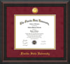 Image of Florida State University Diploma Frame - Mahogany Braid - w/24k Gold-Plated Medallion FSU Name Embossing - Garnet Suede on Gold mats