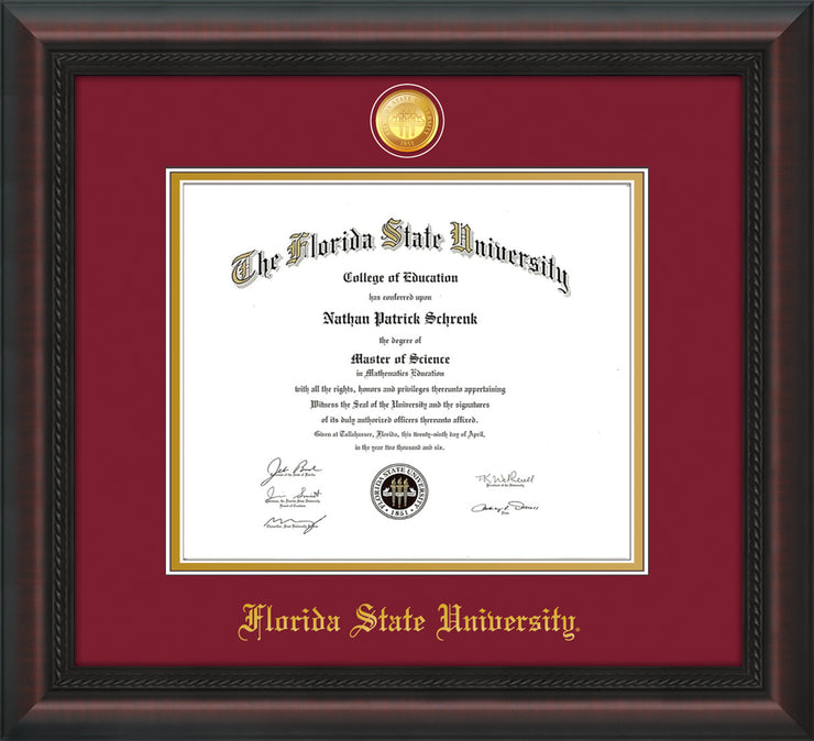 Image of Florida State University Diploma Frame - Mahogany Braid - w/24k Gold-Plated Medallion FSU Name Embossing - Garnet on Gold mats