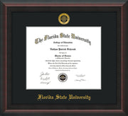 Image of Florida State University Diploma Frame - Mahogany Braid - w/Embossed FSU Seal & Name - Single Black mat