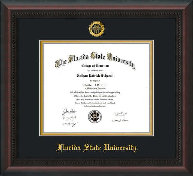 Image of Florida State University Diploma Frame - Mahogany Braid - w/Embossed FSU Seal & Name - Black on Gold mats