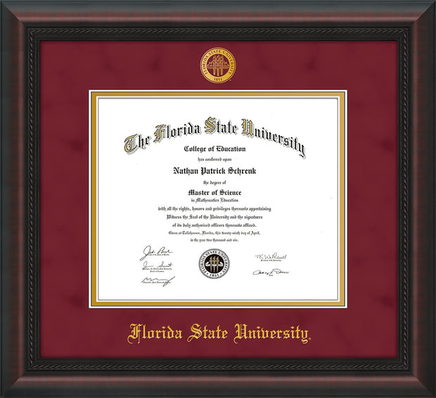 Image of Florida State University Diploma Frame - Mahogany Braid - w/Embossed FSU Seal & Name - Garnet Suede on Gold mats