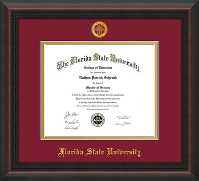 Image of Florida State University Diploma Frame - Mahogany Braid - w/Embossed FSU Seal & Name - Garnet on Gold mats
