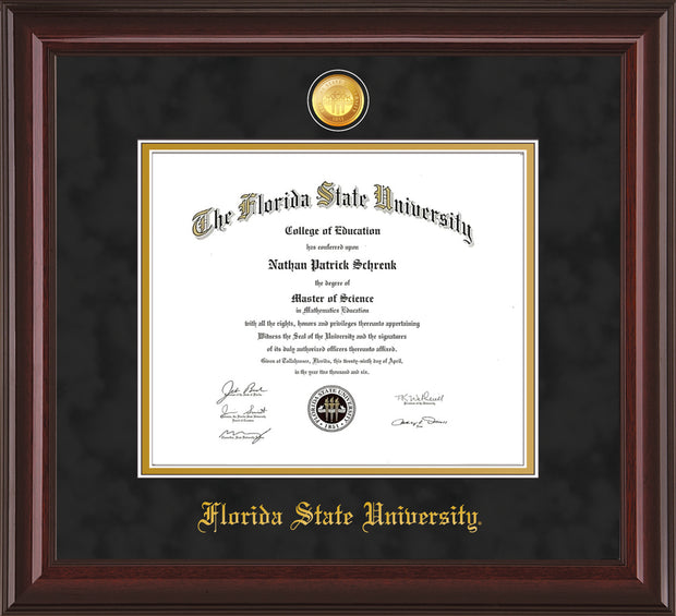 Image of Florida State University Diploma Frame - Mahogany Lacquer - w/24k Gold-Plated Medallion FSU Name Embossing - Black Suede on Gold mats