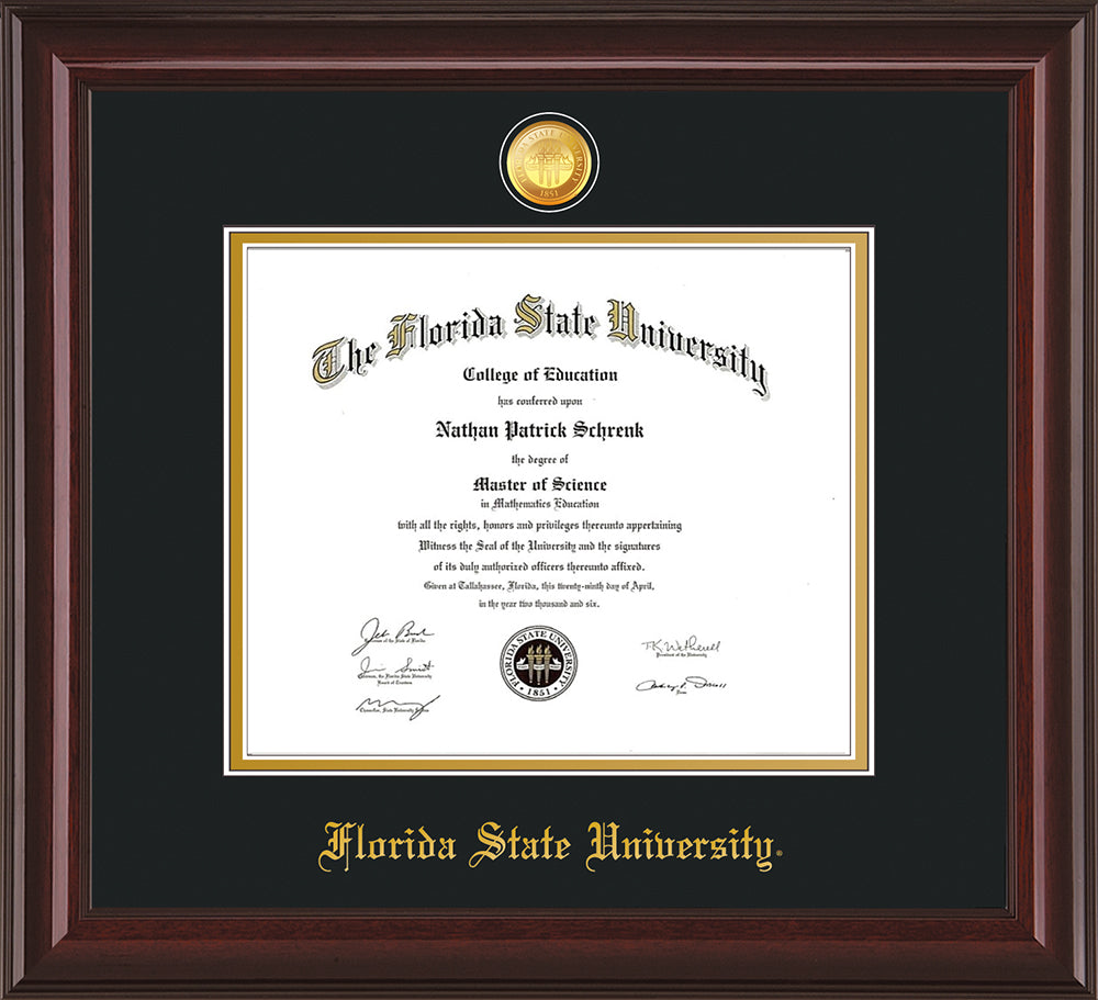 Fsu Diploma Frame M Lacquer W Fsu Medallion Black On