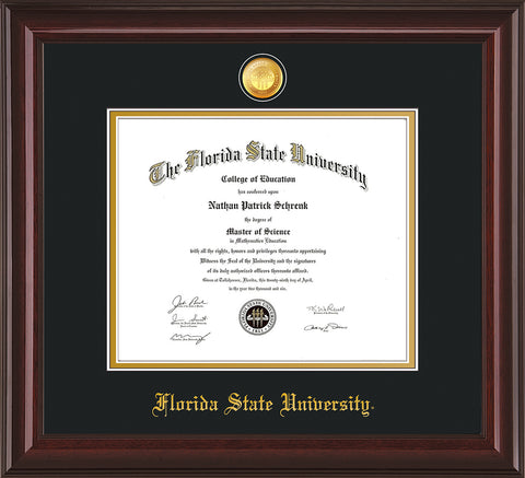Image of Florida State University Diploma Frame - Mahogany Lacquer - w/24k Gold-Plated Medallion FSU Name Embossing - Black on Gold mats