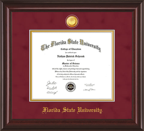 Image of Florida State University Diploma Frame - Mahogany Lacquer - w/24k Gold-Plated Medallion FSU Name Embossing - Garnet Suede on Gold mats