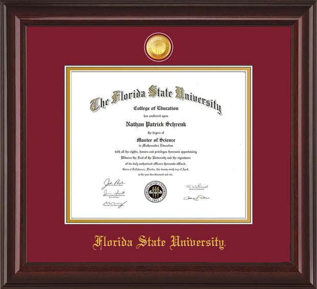 Image of Florida State University Diploma Frame - Mahogany Lacquer - w/24k Gold-Plated Medallion FSU Name Embossing - Garnet on Gold mats
