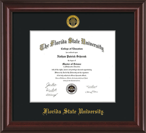 Image of Florida State University Diploma Frame - Mahogany Lacquer - w/Embossed FSU Seal & Name - Single Black mat