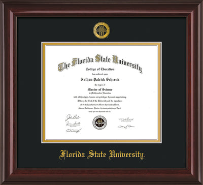 Image of Florida State University Diploma Frame - Mahogany Lacquer - w/Embossed FSU Seal & Name - Black on Gold mats