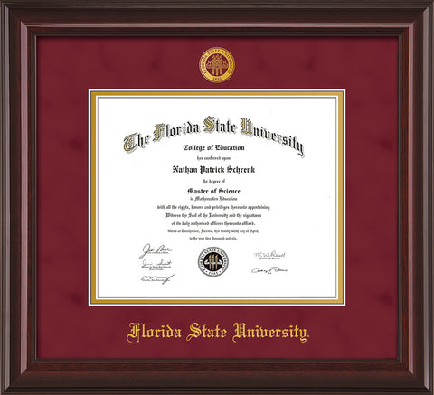 Image of Florida State University Diploma Frame - Mahogany Lacquer - w/Embossed FSU Seal & Name - Garnet Suede on Gold mats