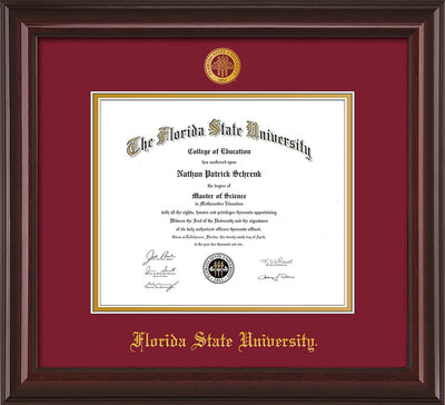 Image of Florida State University Diploma Frame - Mahogany Lacquer - w/Embossed FSU Seal & Name - Garnet on Gold mats