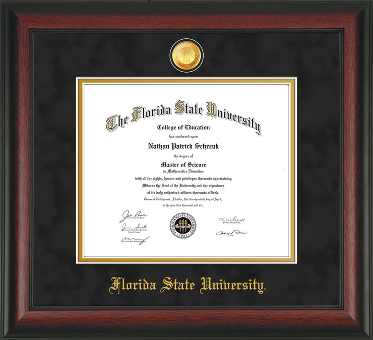 Image of Florida State University Diploma Frame - Rosewood - w/24k Gold-Plated Medallion FSU Name Embossing - Black Suede on Gold mats