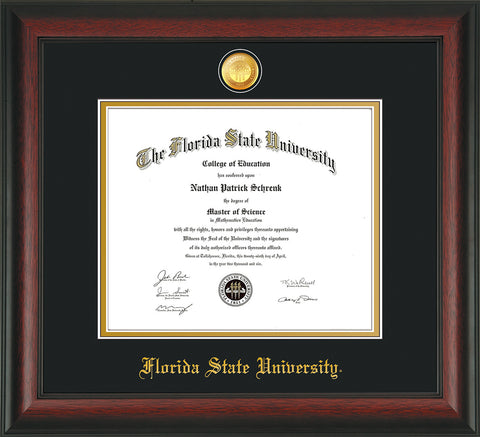 Image of Florida State University Diploma Frame - Rosewood - w/24k Gold-Plated Medallion FSU Name Embossing - Black on Gold mats